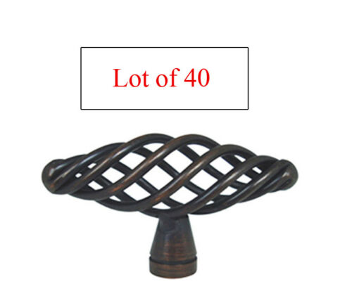 Lot of 40 Oil Rubbed Bronze Birdcage Kitchen Bathroom Cabinet Knobs Pulls 60mm