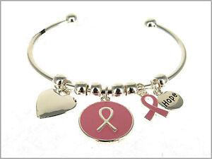 Pink Ribbon Breast Cancer Awareness Inspirational HOPE Bangle Bracelet Silver