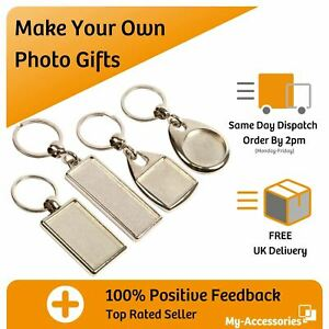 Photo Keyring Metal Blank Key Fob Insert Your Own Image DIY Promotional Gift