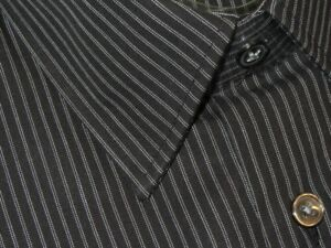 NEW-DAMAGED-HUGO-BOSS-BLACK-w-WHITE-FINEST-STRIPES-DRESS-SHIRT-15-5-32-33
