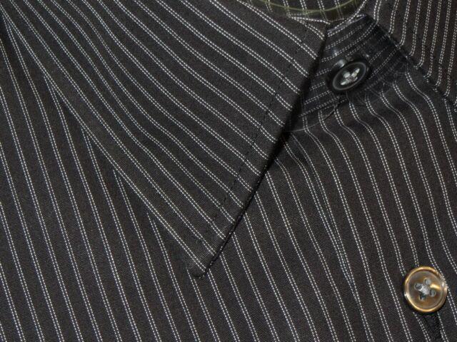 NEW DAMAGED HUGO BOSS BLACK w WHITE FINEST STRIPES DRESS SHIRT 15.5 32/33