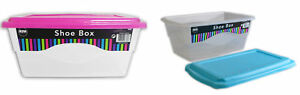 Pack-of-4-Shoe-Storage-Box-Coloured-Lid-Trainers-Pumps-Kids-Adults