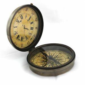 Brass Compass Horoscope Roman Number Clock Nautical Vintage Pocket Gift