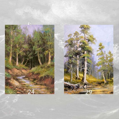 LOT #2 of 2 ACEO ART PRINTS LANDSCAPE Forest Stream Pine Fir Trees NATURE Gift
