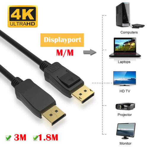 Premium DisplayPort DP Male to Male Cable Lead 4K 60HZ Ultra HD Gold Plated AU