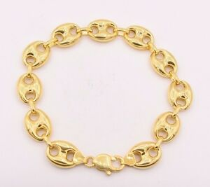 2a5a3b1a46cae 14mm Puffed Gucci Anchor Mariner Link Bracelet 14K Yellow Gold Clad ...