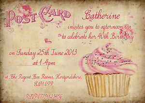 Image Is Loading 21st 18th 30th 40th Vintage Postcard Afternoon Tea