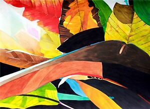 Details about Art Original Watercolor Painting BACKLIT TROPICAL LEAVES 2 by  Karin Novak-Neal
