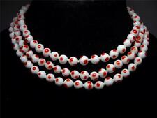 Vintage Red Polka Dot Milk Glass Triple Strand Necklace~Matching Clasp