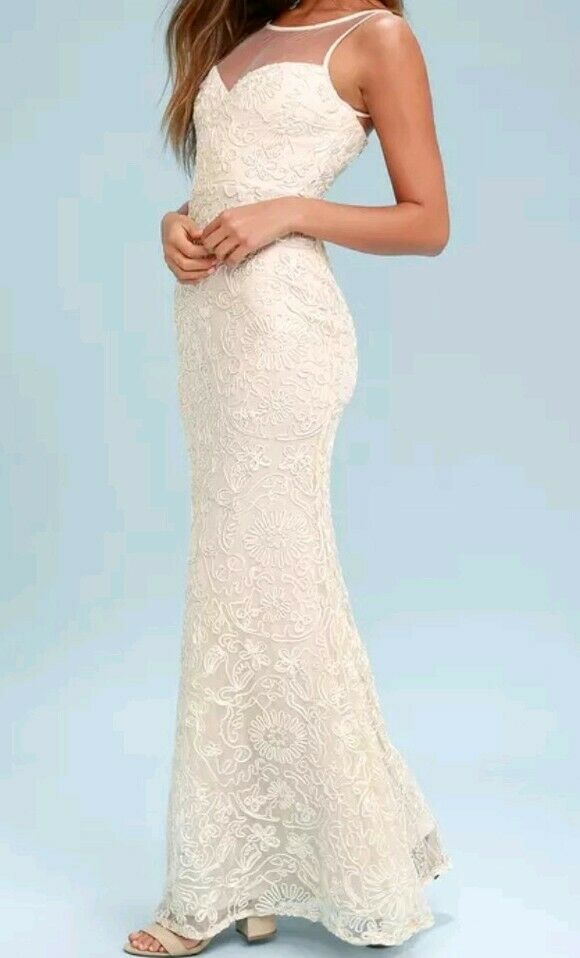 NWT Cream Embroiderot Maxi Dress Größe Medium