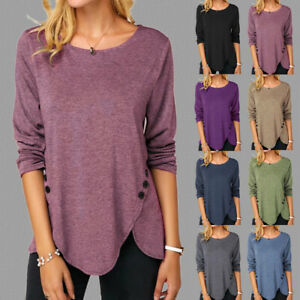 Womens-Long-Sleeve-Buttons-Blouse-T-Shirt-Pure-Tee-Pullover-Loose-UK-Ladies-Tops