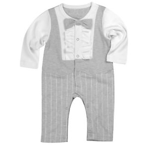 Baby-Boy-Formal-Party-Christening-Wedding-Tuxedo-Grey-Ruffle-Style-Bow-Tie-Suit