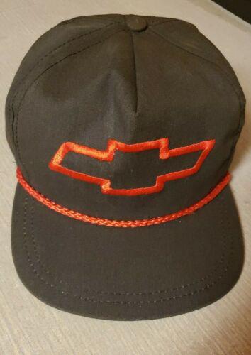 VTG Chevrolet Logo Bowtie Snapback Rope Hat Black