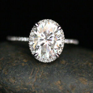 2.30 Ct Oval Cut Moissanite Engagement Wedding Ring 18K Real White Gold Size 9