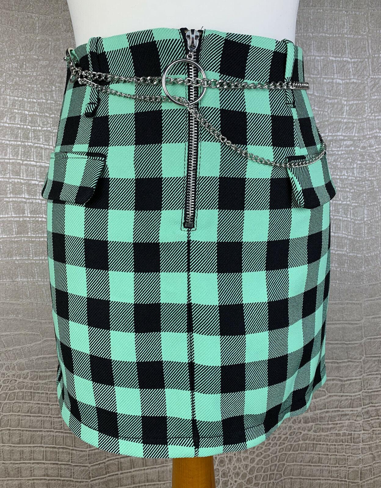 BERSHKA Damen S 34 36 Rock Mini Skirt grün schwarz kariert Metall Kette Punk 501