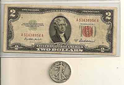 1953 or 1963 $2 US red seal /& Walking liberty 90 /% Silver half dollar Lot of 2