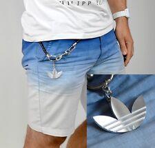Adidas Trefoil Logo Leder Kette Schlüssel Anhänger Karabiner Hose schwarz/silber