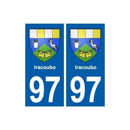 97 Iracoubo blason autocollant plaque stickers ville -  Angles : droits