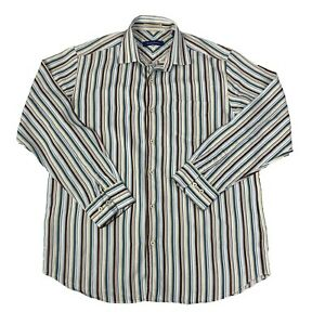 Tommy-Bahama-Mens-Size-Medium-Multicolor-striped-Long-Sleeve-Button-Front-Shirt