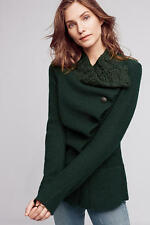 NWT ANTHROPOLOGIE Asymmetrical Wool Jacket Sweater Coat Dark Green Sz L $198