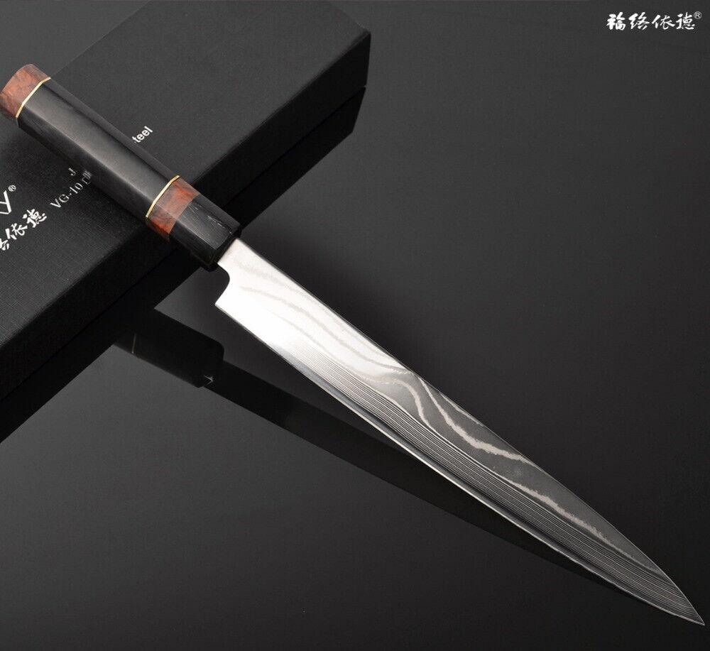 Japonais yangai Sashimi Sushi couteau VG10 Core Damas bois en acier poignée 240 mm