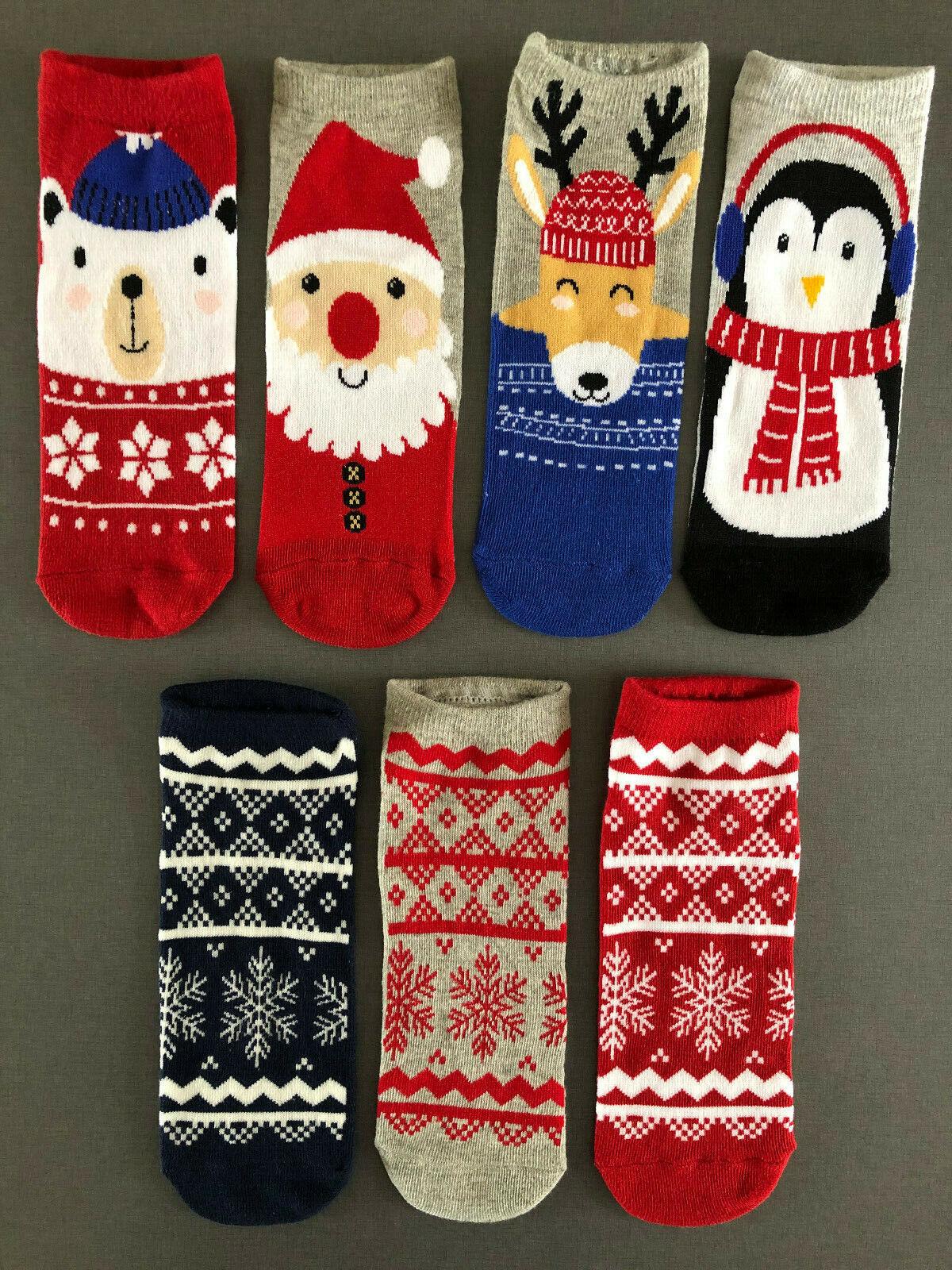 7 Paar Damen Sneaker Socken Rentier Pinguin Eisbär Norweger Lustig Bunt 37-42