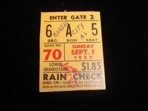 September 1, 1957 Chicago White Sox @ Kansas City A's Ticket Stub EX