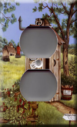 Outhouse Raccoon Single Outlet Plate Cover Animals Life