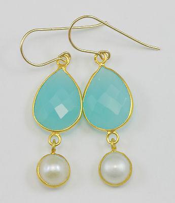 Sea Breeze Aqua Chalcedony Bar Earrings in 14k Gold Fill R5