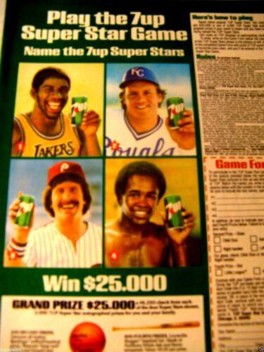 "7 Up George Brett-Magic Johnson-Mike Schmidt 1981 Original Print Ad 8.5 x 11/"""