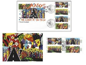 Romero-Britto-450th-anniversaire-de-Sao-Paulo-lot-de-FDC-cartes-postales-et-4-timbres-Comme-neuf