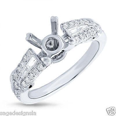 0,45 Karat 14k Weiss Gold Baguette Diamant Rund Halb Verlobung Ring Eine GroßE Auswahl An Farben Und Designs