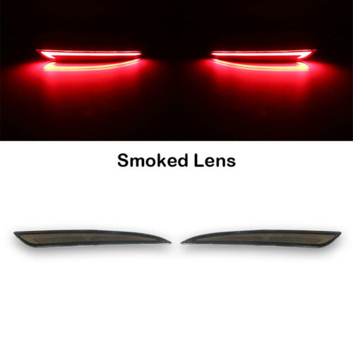2X Smoked Lens LED Rear Bumper Reflector Brake Tail Light Fits 13~18 Ford Fusion