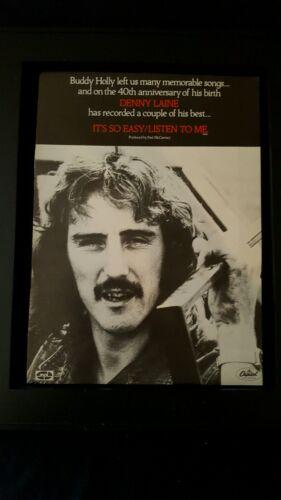 Denny Laine It's So Easy Rare Original Promo Poster Ad Framed!