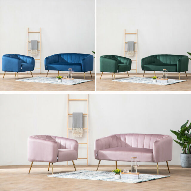 Velvet Fabric 1 2 Seat Sofa Occasional Chair Armchair Living Room Furniture  Suit