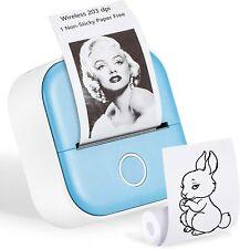 T02 Mini Pocket Thermal Printerwireless Bluetooth Mobile Photo Printer Blue