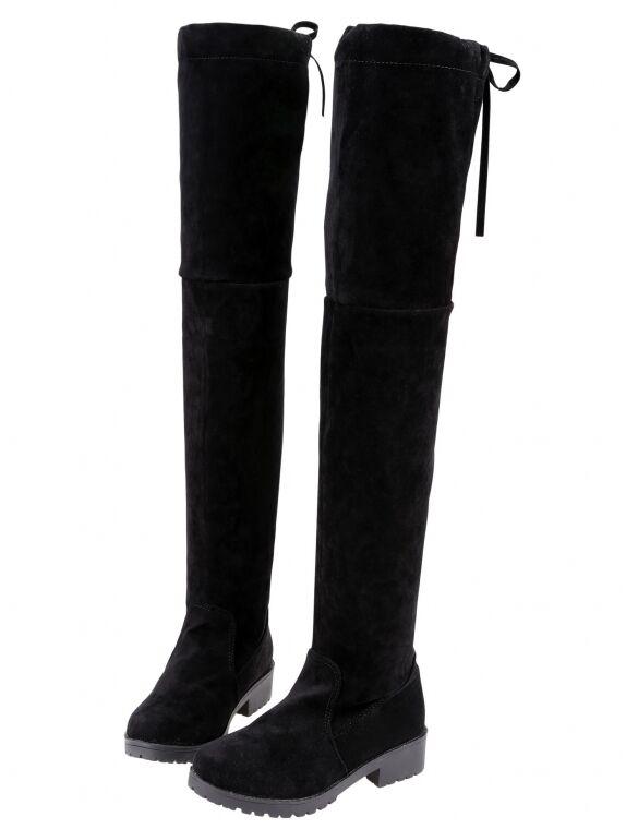 stiefel winter komfortabel damenschuhe hoch simil gämse schwarz 9405