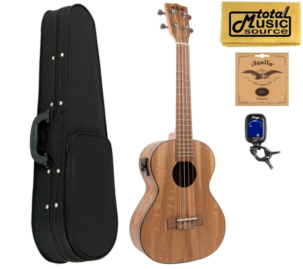 Kala KA-PWTE Tenor Pacific Walnuss Tenor Ukulele, Mit Soft Case Bundle