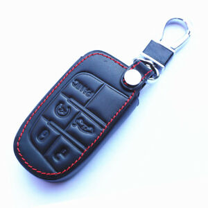 5-Buttons-Genuine-Leather-Smart-Key-Chain-Holder-Cover-For-Jeep-Dodge-Chrysler