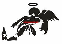 One (1) Banksy Fallen Angel Vinyl Decal Car Window Stickers Wall Black