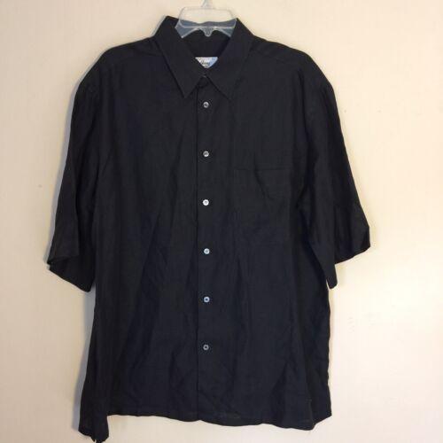 Brioni Black Linen Camp Shirt Men's XL RARE