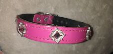 Hand Made Real Leather Dog Collar Small Medium Fuchsia Pink Big Jewel Studs