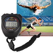 Black Professional Running Digital Stopwatch Sports Chronograph Timer Counter