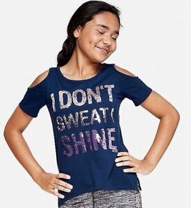 NWT Justice Girls Size 10 12 14//16 Giraffe Cold Shoulder Flip Sequin Shirt Top