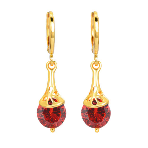Women Simple Gold Plated White Round CZ Cubic Zirconia Drop Earrings Jewelry