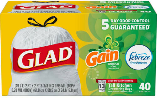 Trash Bags 13 Gallon Tall Drawstring Odor Shield For Kitchen Office 40 Count