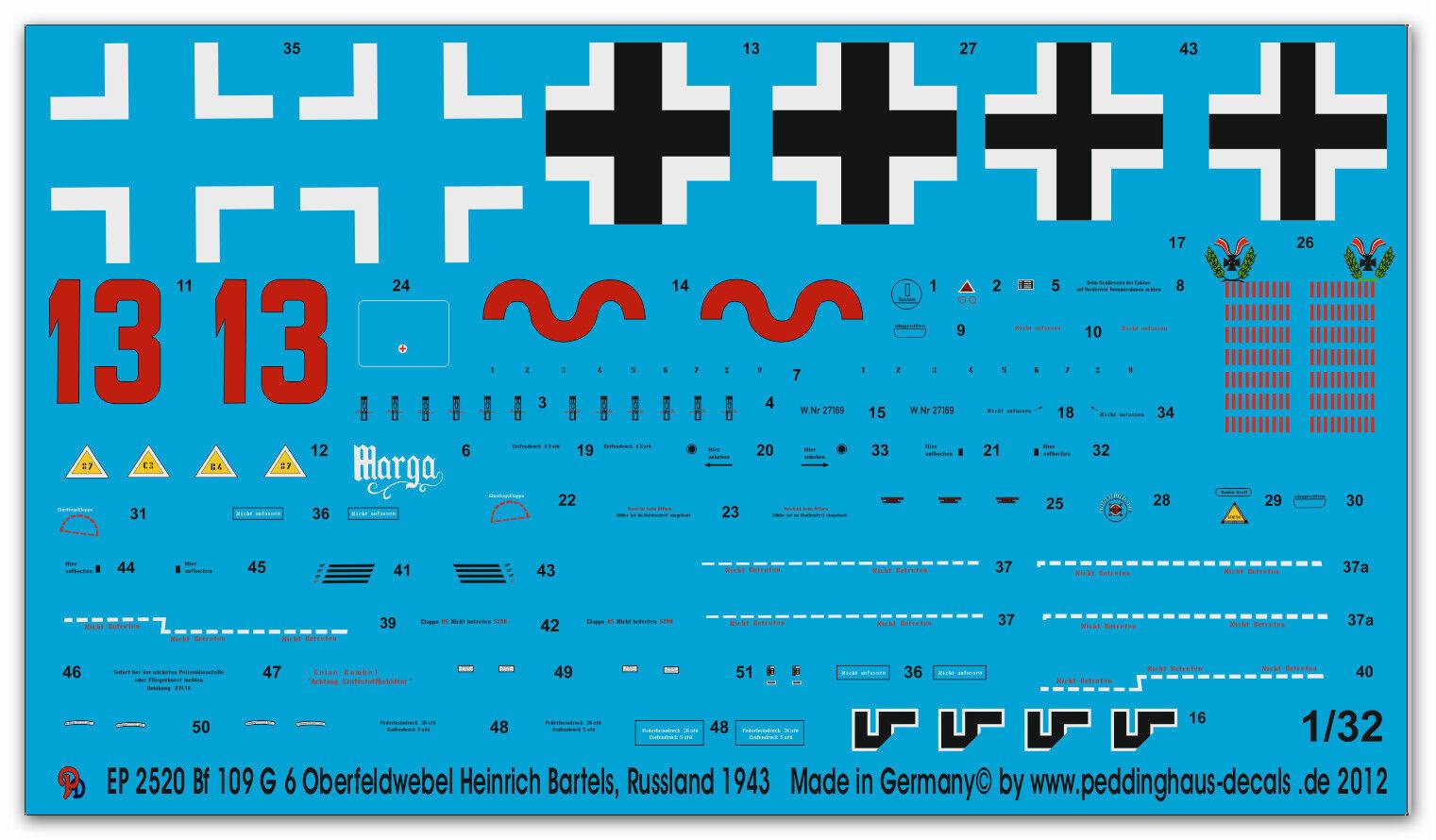 Peddinghaus 2520 1 1 1 32 Bf 109G 6 Ssilver Heinrich Bartels, RUSIA 1943 42675a