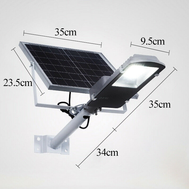 100W Solar Wall Street Light IP65 Light Control+Remote Outdoor Garden Flood