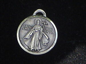 Vintage silver saint paul christopher medal 3/4 inch says love #8 on back