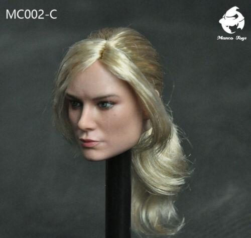 "Mancotoys 1//6 Beauty Girl Captain Marvel Head Carving W//Blonde Hair Fit 12/"" Body"